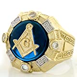 10k Gold Two-Tone Mens Simulated Sapphire Masonic Ring