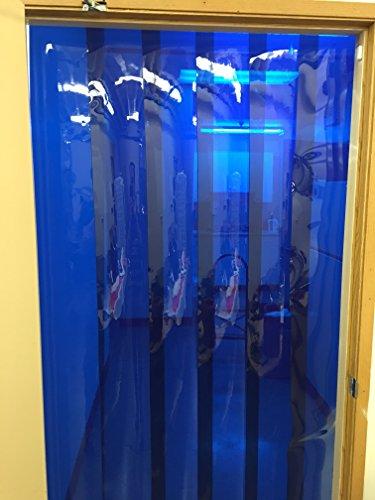 Vinyl Strip Door Curtain 48 in X108 in Blue Weld Hardware Included