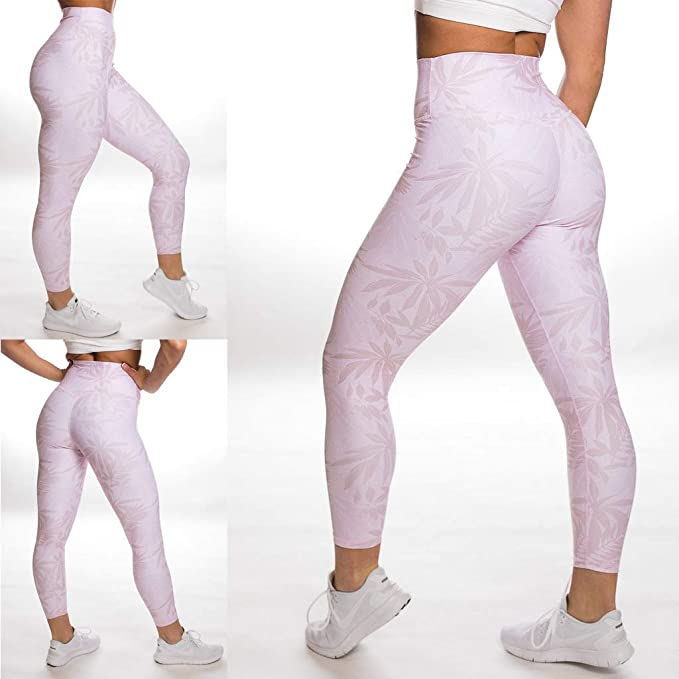 Not applicable Womens Pink Camo Leaf Leisure Elastic Yoga Pants Sports Leggings
