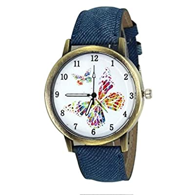 GOTD Women's Watches Butterfly PU Leather Band Analog Quartz Business Wrist Watch Blue