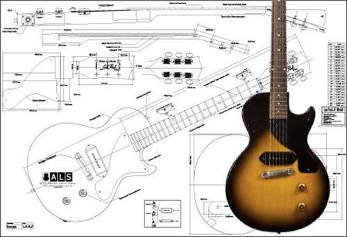 Plan von Gibson Les Paul Junior E-Gitarre – Full-Scale Print: Amazon ...