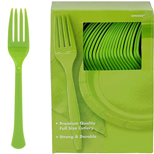 Kiwi Forks - Big Party Pack Kiwi Green Plastic Forks, 100 Ct.