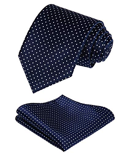 HISDERN Extra Long Polka Dot Tie Handkerchief Men's Necktie & Pocket Square Set
