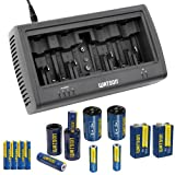 Watson Universal 8-Bay Charger Kit with AAA, AA and 9V NiMH Batteries and Spacers