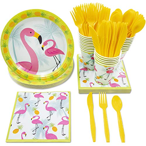 Juvale Flamingo Tropical Party Supplies - Serves 24 - Includes Plates, Knives, Spoons, Forks, Cups and Napkins for Birthday and Summer Parties -