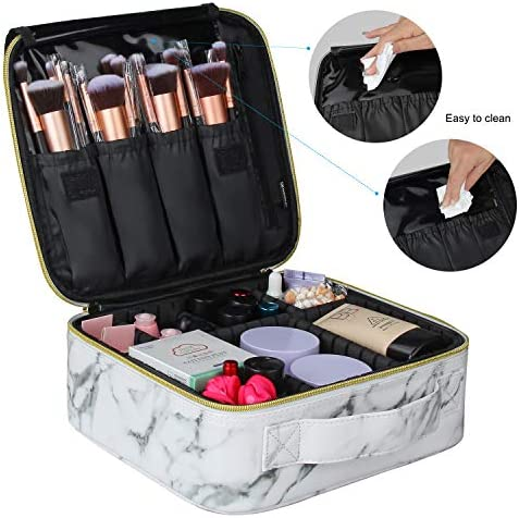 Marble Makeup Bags,Portable Makeup Organizer Bag Travel Case Professional Jewelry Storage Organizer with with Adjustable Dividers for Cosmetics Makeup Brush (Small)