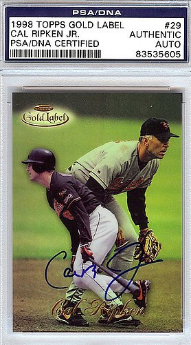Gold Label 1998 Topps (Cal Ripken Jr. Signed 1998 Topps Gold Label Card #29 Baltimore Orioles - PSA/DNA Authentication - Autographed MLB Baseball Cards)