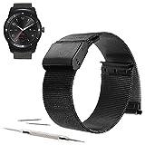 22mm Mesh Stainless Steel Milanese Loop Replacement Watch Band For LG G Watch W100, LG Watch Urbane W150, LG G Watch R W110 2015 (YESOO Retail Packaging - 180 Days Warranty) (Loop Black, 22mm)