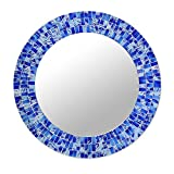 NOVICA Blue Glass Mosaic Wood Framed Round Decorative Wall Mounted Mirror, 'Tropical Fusion' (large)