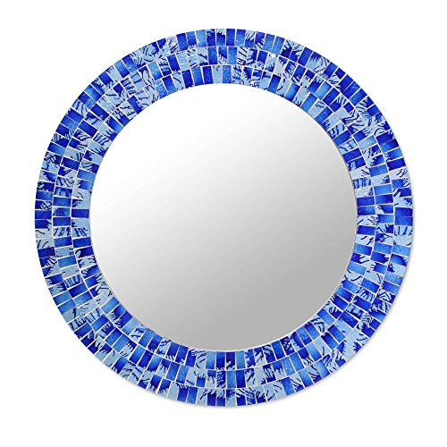 NOVICA Blue Glass Mosaic Wood Framed Round Decorative Wall Mounted Mirror, Tropical Fusion