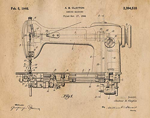 Original Sewing Machine Patent Art Poster Print - Set of 1 (one 11x14) Unframed - Great Wall Art Decor Gifts for Seamstress, Designer, Craft Room, Living Room, Bedroom, Bathroom, School, Office from Stars Arts