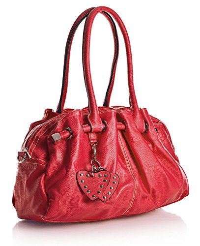 Rojo Corazón con LxAxP Mediano Dije cm con Dama 40x24x13 Multibolsillos y BHBS Bolso para OwzA1