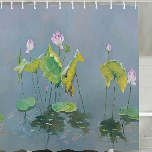 Retro Lotus Decor Shower Curtain Fabric, Asian Watercolor Water Lilies Flower in Water Art Painting Waterproof Polyester Bathroom Shower Curtain with Hooks,72x72 Inch
