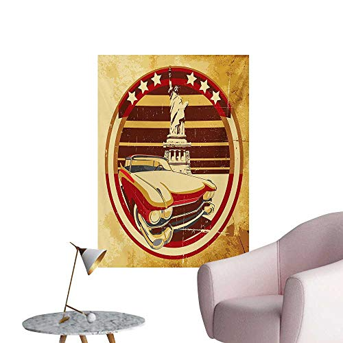 Anzhutwelve Vintage Car Wall Sticker Decals Vintage Car Image American Symbolism Statue of Liberty on Old Paper PrintYellow Red Brown W24 xL36 Cool -