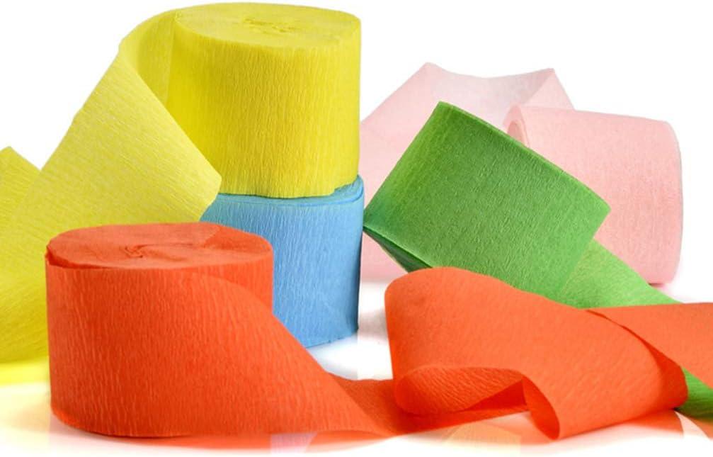 9m//Roll BESPORTBLE 12Pcs Crepe Paper Paper Decor Streamer Paper for Concert Wedding Birthday Festivals