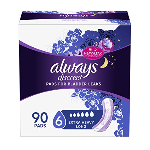 Always Discreet Incontinence Pads, Extra Heavy Long, 45 Count Pack of 2 (90 Count Total) ()