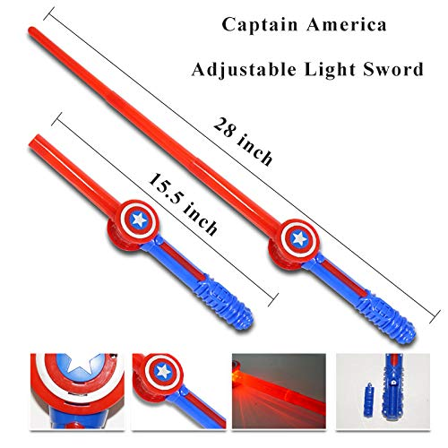 Fundisinn Captain America 5 Packs Cartoon Superhero Costume Light Sound Shield & Satin Cape & Light Mask & Adjustable Sword & Fire Gloves Dress Up Costumes Captain America Toys for Kids by Fundisinn (Image #5)