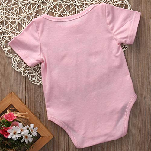 ❤️Baby Girl Clothes,0-24 Months Baby Boy Girls Letter Printed Ha Yi Romper Short Sleeve Jumpsuit Clothes Pink by AOmahh-Rompers (Image #3)