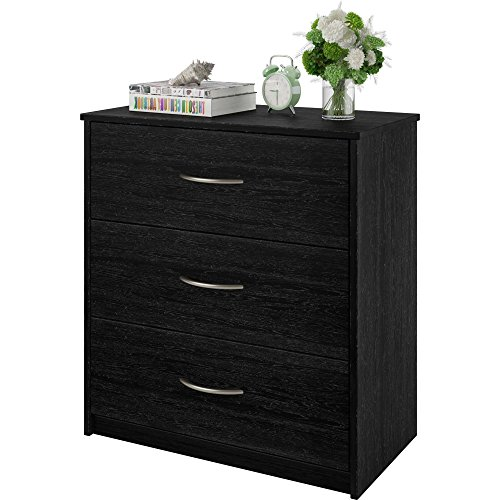 (Stylish and Practical 3 Drawer Dresser Made of Laminated Particleboard, Works Well with Any Decor in Your Family Room, Bedroom, Living Room or Home Office, Black Oak + Expert Home Guide)