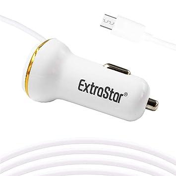 Extrastar Rápido Cargador de Coche, con Cable Micro USB[5V/2.4A/24W] (Blanco)