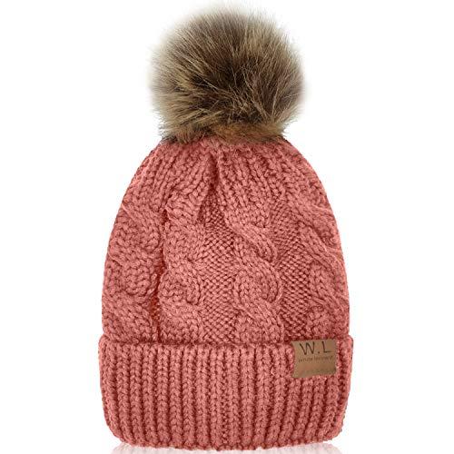 - Whiteleopard Kid Beanie Hats Lining Pom Pom for Children -Slouchy Cable Knit Toddler Skull Hat Baby Ski Cap for Girls Boys (Pink)