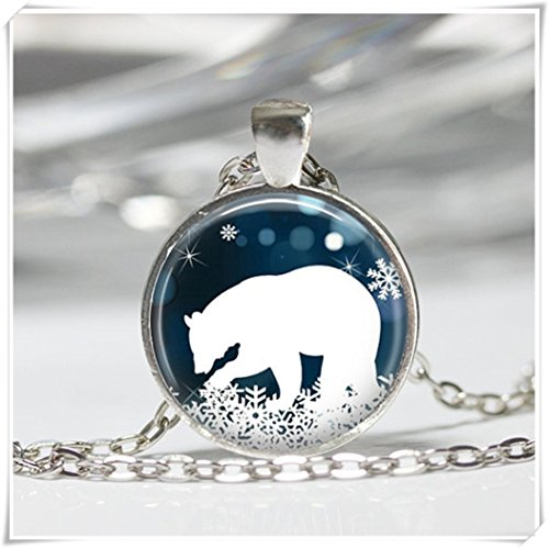 Polar Bear Necklace, Blue and White Snowflake Art Pendant,Animal ornaments,Dome glass ornaments, pure ()