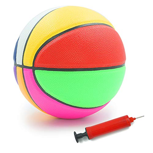 Aoneky Rubber Size 5 Basketball – Colorful Rainbow Ball for Kids Aged 3-10 Years Old, Boys Mini Sport Ball Toy, Ball Pump Included