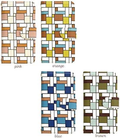 スマホケース 全機種対応 手帳型【HONEY BEE 101K ブラウンコーナーパターン】かわいい 幾何学模様 カラフル おしゃれ カバー