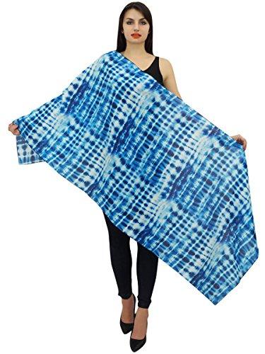 Phagun Shibori Print Cotton Voile Scarf Women Wrap Stole Indigo Blue Shawl - Indigo Silk Wrap