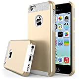 iPhone 5S Case, J.west Hybrid Armor Dual-Layer Hard PC + Flexible TPU Slim Shock-Proof Protective Case TPU Bumper Scratch Resistant For Apple iPhone SE/5S/5 - Gold&White