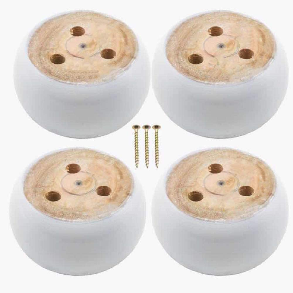 4PCS Bun Foot Furniture Legs with 12 Screws, White Wooden Couch Sofa Legs Replacement Parts
