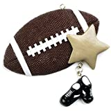 Personalized Football Christmas Ornament for Tree 2018 - Sports Ball with Gold Star and Sneakers dangling Team Player Athlete NFL - Coach Hobby School Active Foot Profession - Free Customization