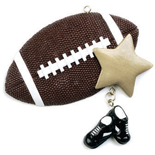 Personalized Football Christmas Tree Ornament 2019 - Sports Ball Gold Star Sneakers Dangle Team Player Athlete NFL Coach Hobby School Active Foot Profession Year - Free Customization