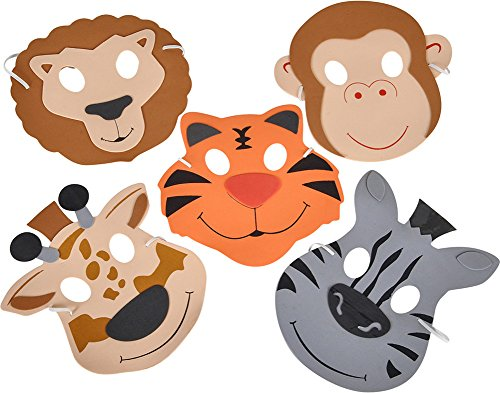 Zoo Animal Foam Masks (1 dz)