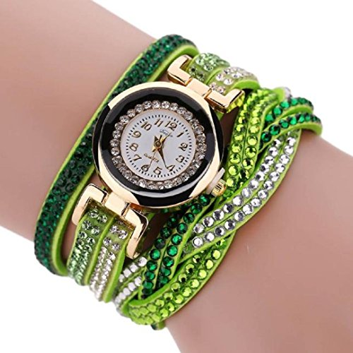 Malltop_Luxury Women Crystal Wrap Bracelet Dial Quartz Digital Wrist Watch Watch Double Color (Green)