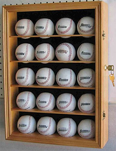 20 Baseball Display Case or Baseball Cube Display Case Cabinet Shadow Box, Pro UV Protection (Oak)