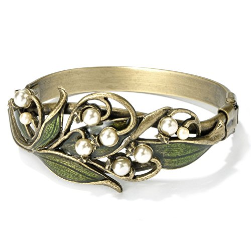 Sweet Romance Vintage Wedding Lily of The Valley Flower Anniversary Bridal Bracelet (Nouveau Lily)