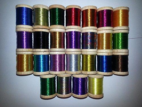 25 Spools Fishing Rod Building Thread Size A Nylon Metallic 175 Yards BONUS! ()
