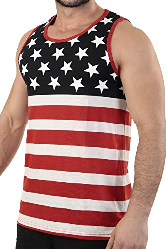 Exist Patriotic American Flag Stripes and Stars Tank Top Shirt TAF14 M