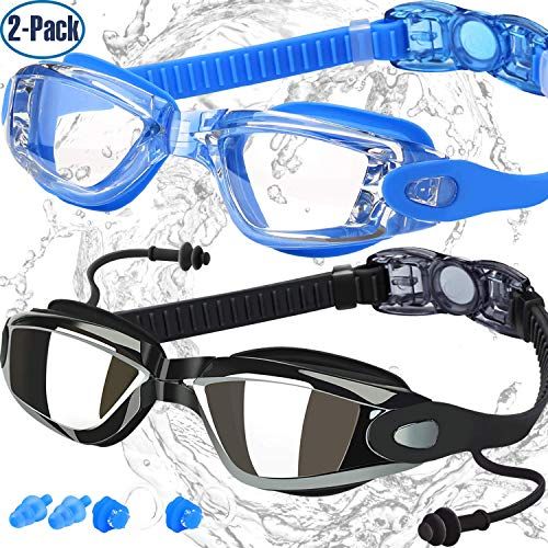 COOLOO Swim Goggles, Pack of 2, Swimming Goggles for Adult Men Women Youth Kids Child, Triathlon Equipment, with Mirrored & Clear Anti-Fog, Waterproof, UV 400 Protection ()