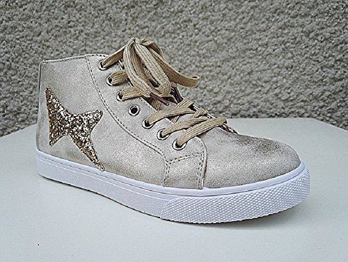 Sneakers Montante Femme Lace Fashion Girl Y227 Dore IRGLQJXYsH