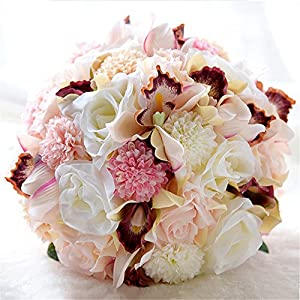 YSTR Wedding Romantic Bouquet Bride Bridal Bouquets Bridesmaid Bouquet Artificial Flowers Valentine's Day Confession Party Church 22