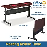 Mobile Flip-Top Table - 60''W x 24''D Mahogany Top/Black Frame Dimensions: 60''W x 24''D x 29.5''H Weight: 85 lbs.