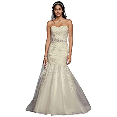 David\'s Bridal Sample: As-is Lace Wedding Dress with Sweetheart ...