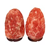 7 to 8 Inch Natural Himalayan Hand Carved Salt Lamp with Wood Base, 6ft Cord with Dimmer Switch and with 15W Bulb - 2 Pack