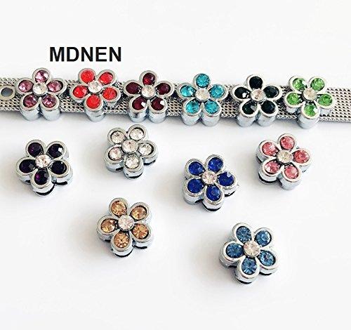 50PCS 8MM Enamel Birthstone Flower Slide Charms Slide Letters Fit 8mm Belts Bracelets