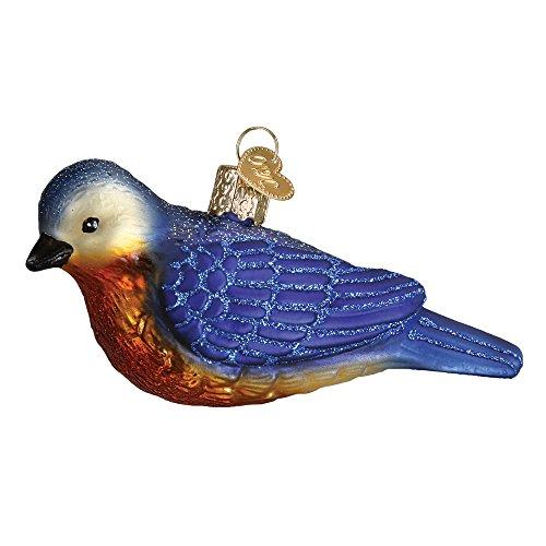 (Western Bluebird Glass Blown Hanging Christmas Ornament)