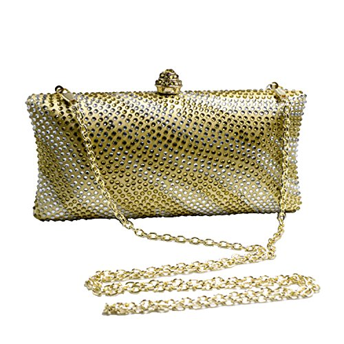Bag Clutches and Evening Womens Wave Gold for Crystal Prom Bridal DMIX Wedding FqXEw