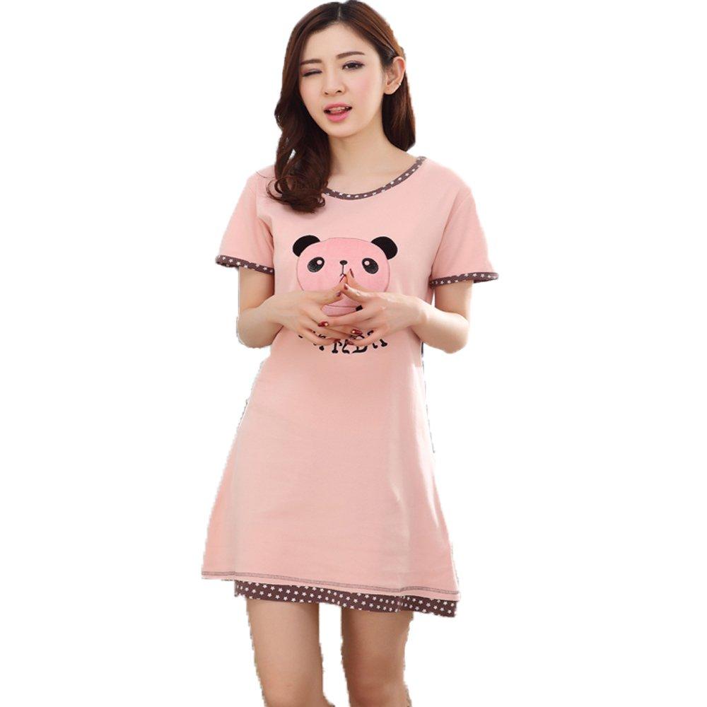 Packitcute Vestido de pijama de algodón rosado encantador del oso de la historieta de la primavera de las mujeres: Amazon.es: Ropa y accesorios