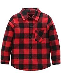 Kids Long Sleeve Boy's Girl's Plaid Flannel Shirt 2T-12(Five Colors)